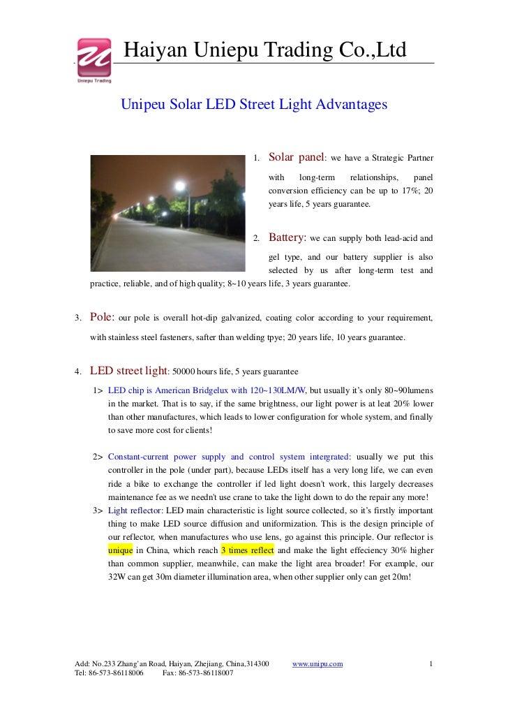 Haiyan Uniepu Trading Co.,Ltd             Unipeu Solar LED Street Light Advantages                                        ...