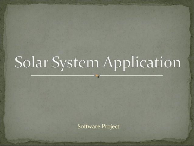 Solar system application