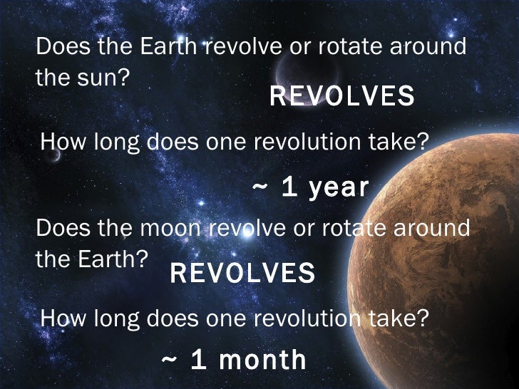 Does the Earth revolve or rotate around the sun? REVOLVES How long does one revolution take? ~ 1 year Does the moon revolv...
