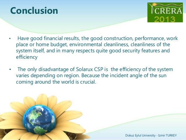 solar energy essay conclusion Solar energy, wind & alternative power products & services for residential, commercial and industrial systems electrical generation, water home location: - technology review: july 95: solar power inventors unlocked the secrets of turning the sun's rays into mechanical power more than a century.