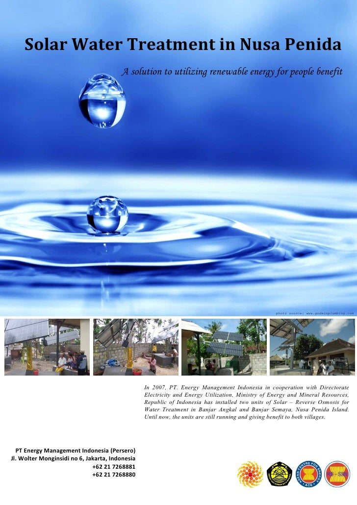 Solar Water Treatment in Nusa Penida                                         A solution to utilizing renewable energy for ...