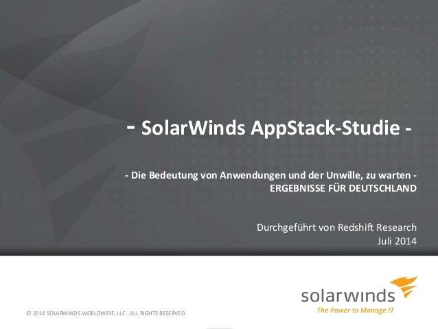 - SolarWinds AppStack-Studie -  - Die Bedeutung von Anwendungen und der Unwille, zu warten -  ERGEBNISSE FÜR DEUTSCHLAND  ...