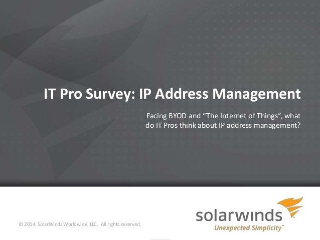 IT Pro Survey: IP Address Management