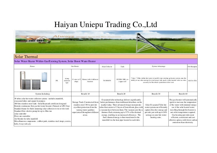 Haiyan Uniepu Trading Co.,LtdSolar ThermalSolar Water Heater Within Gas/Existing System, Solar Boost Water Heater         ...