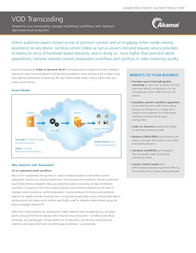 AKAMAI MEDIA DELIVERY SOLUTIONS: PRODUCT BRIEF Online audiences expect instant access to premium content and an engaging o...