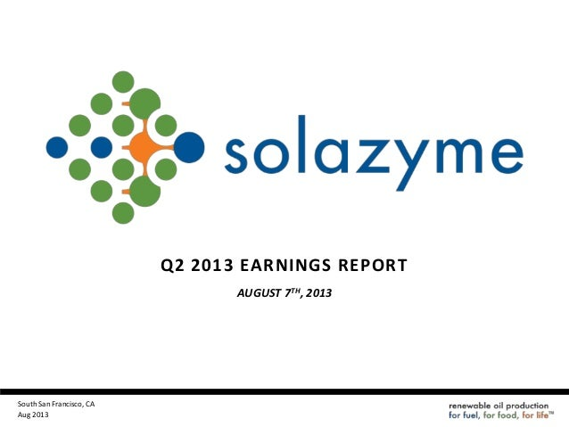 Solazyme 2Q 2013 earnings