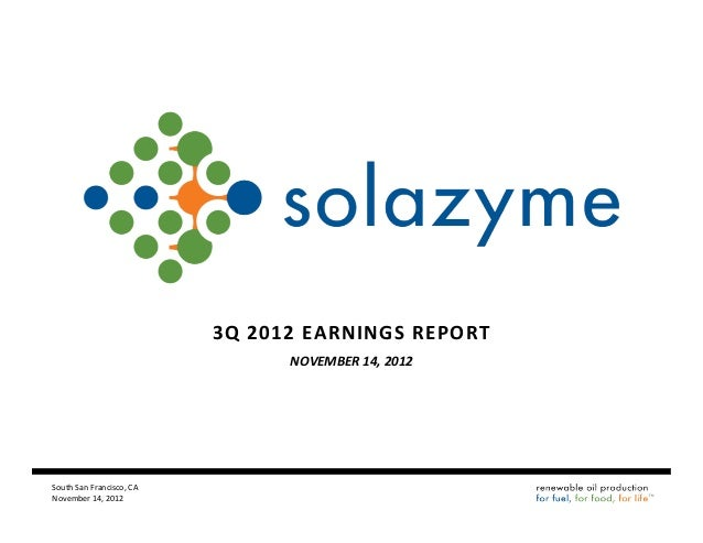 Solazyme Q3 2012 earnings