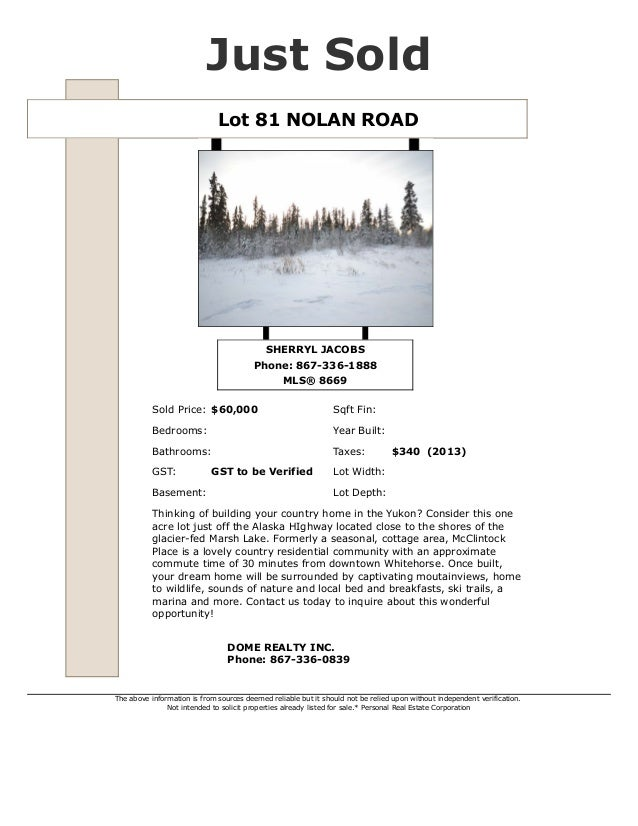 Sold   lot 81 nolan road - whitehorse real estate