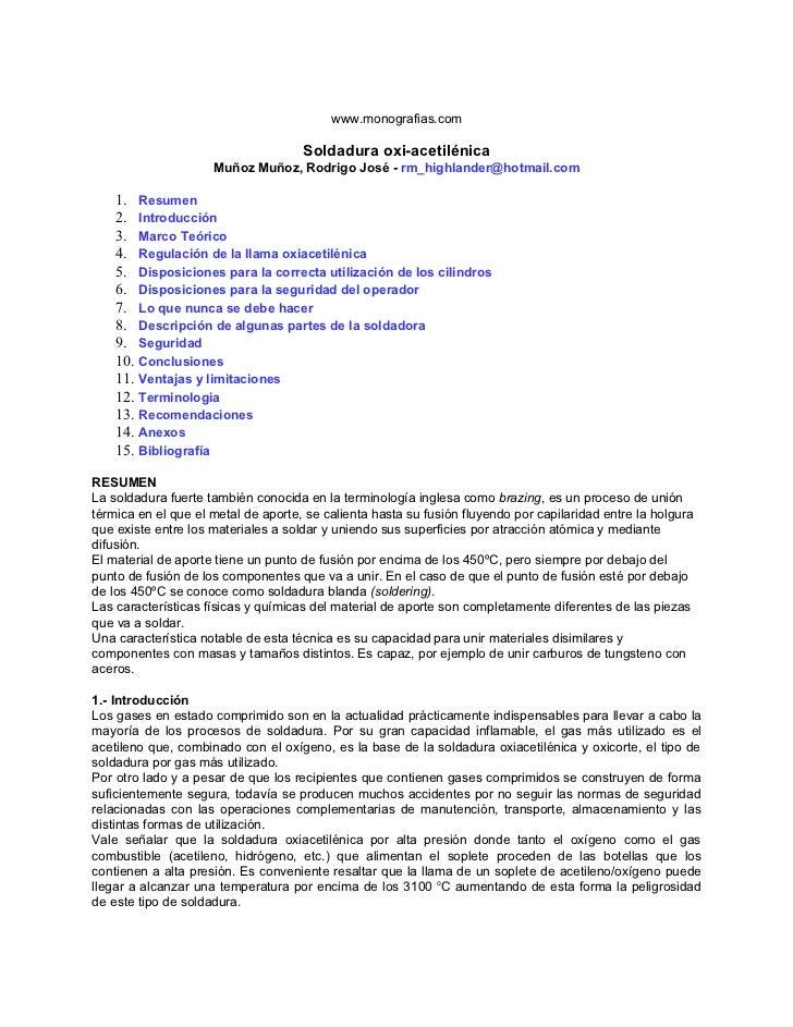 www.monografias.com                                     Soldadura oxi-acetilénica                     Muñoz Muñoz, Rodrigo...