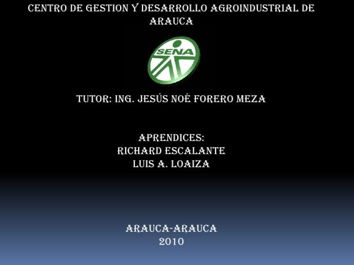 CENTRO DE GESTION Y DESARROLLO AGROINDUSTRIAL DE ARAUCA<br />Tutor: Ing. Jesús Noé forero meza<br />Aprendices:<br />Richa...