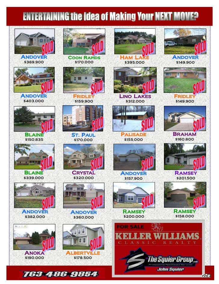 ANDOVER     COON RAPIDS   HAM LAKE     ANDOVER $389,900      $170,000     $395,000     $149,900     ANDOVER       FRIDLEY ...