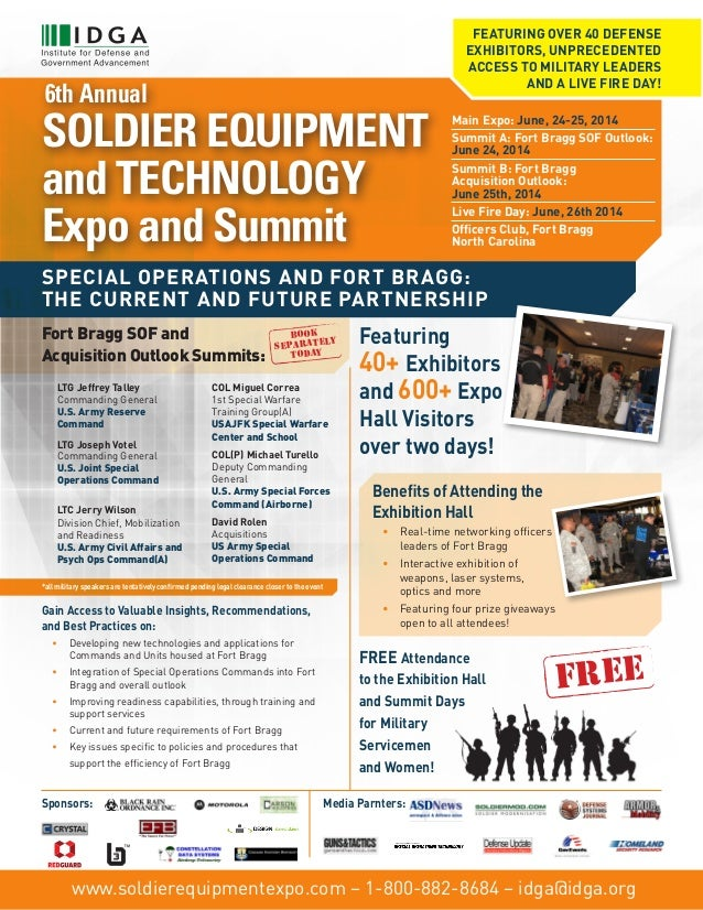 FEATURING OVER 40 DEFENSE EXHIBITORS, UNPRECEDENTED ACCESS TO MILITARY LEADERS AND A LIVE FIRE DAY!  6th Annual  SOLDIER E...