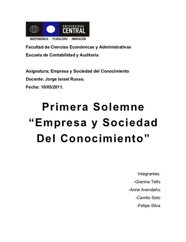 Facultad de Ciencias Económicas y AdministrativasEscuela de Contabilidad y AuditoriaAsignatura; Empresa y Sociedad del Con...