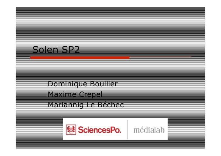 Solen SP2  Dominique Boullier  Maxime Crepel  Mariannig Le Béchec