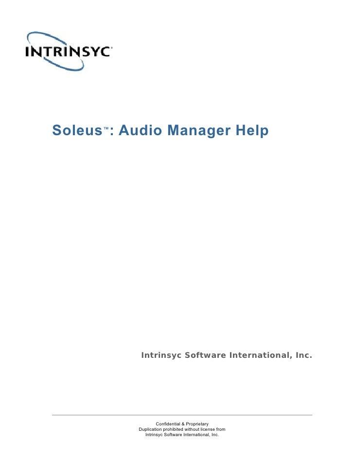 Soleus Audio Manager Help