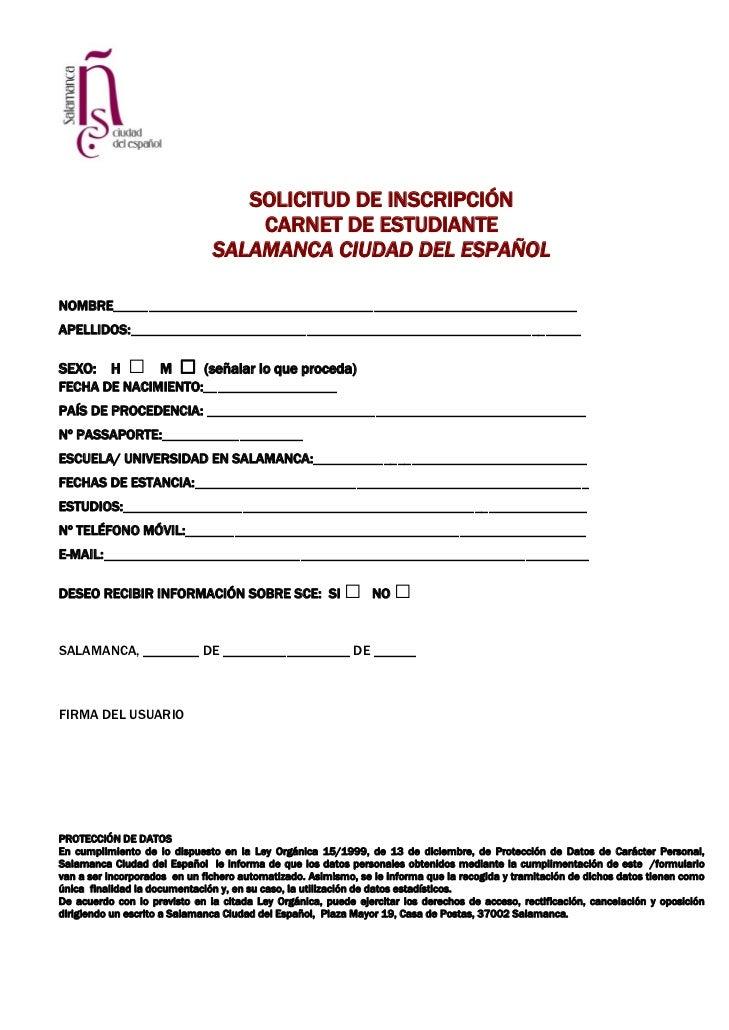 SOLICITUD DE INSCRIPCIÓN                                   CARNET DE ESTUDIANTE                               SALAMANCA CI...