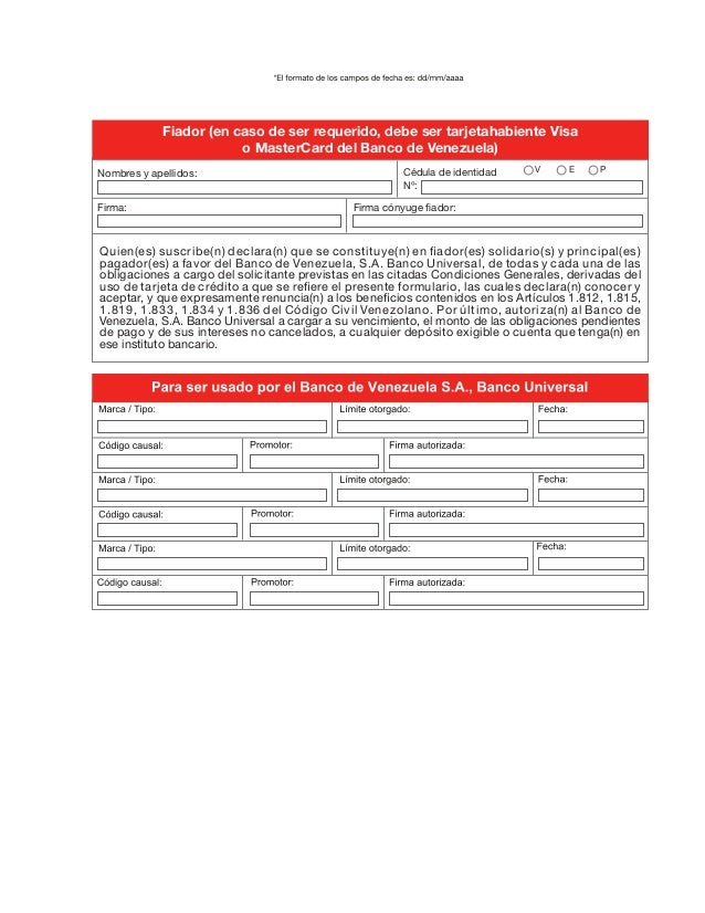 aprobacion de tarjeta de credito banco venezuela On solicitud de tarjeta de credito banco de venezuela
