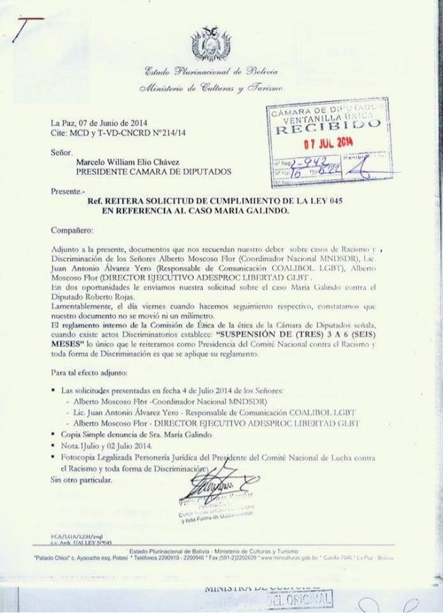 Solicitud de cumplimiento de la ley 045 en referencia a maria galindo