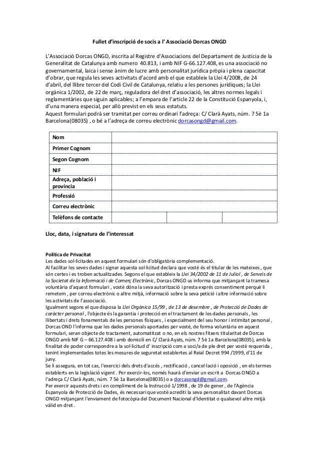 Fullet d'inscripció de socis a l' Associació Dorcas ONGD L'Associació Dorcas ONGD, inscrita al Registre d'Associacions del...