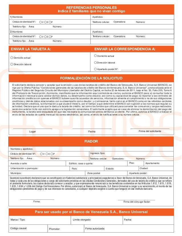 solicitud de la tarjeta de credito somos del banco de On solicitud de tarjeta de credito banco de venezuela