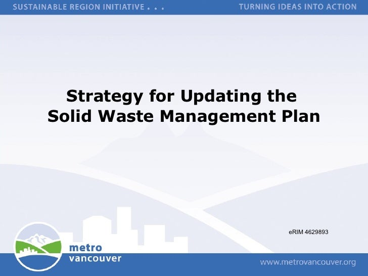 Strategy for Updating the  Solid Waste Management Plan eRIM 4629893