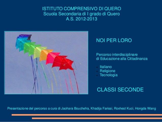ISTITUTO COMPRENSIVO DI QUEROScuola Secondaria di I grado di QueroA.S. 2012-2013NOI PER LOROPercorso interdisciplinaredi E...