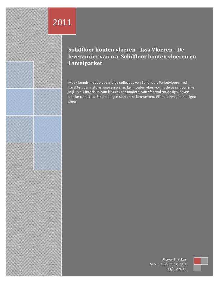 2011   Solidfloor houten vloeren - Issa Vloeren - De   leverancier van o.a. Solidfloor houten vloeren en   Lamelparket   M...