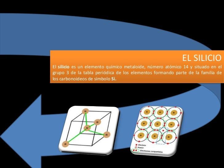 EL SILICIOEl silicio es un elemento químico metaloide, número atómico 14 y situado en elgrupo 3 de la tabla periódica de l...