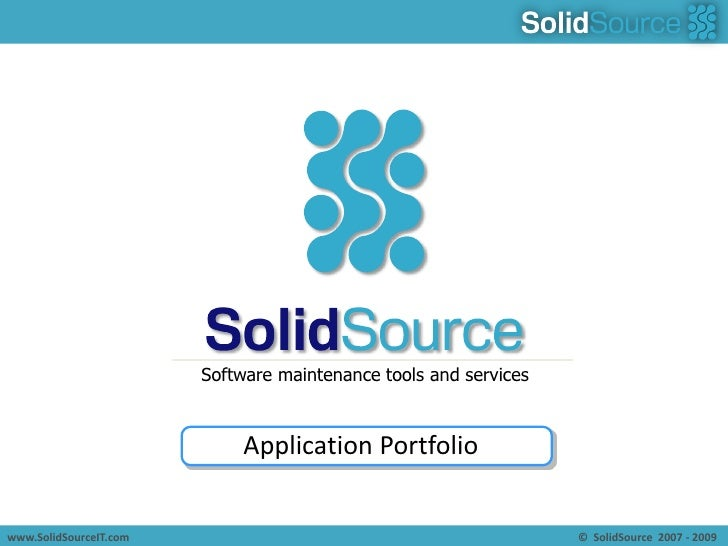 Software maintenance tools and services<br />Application Portfolio<br />