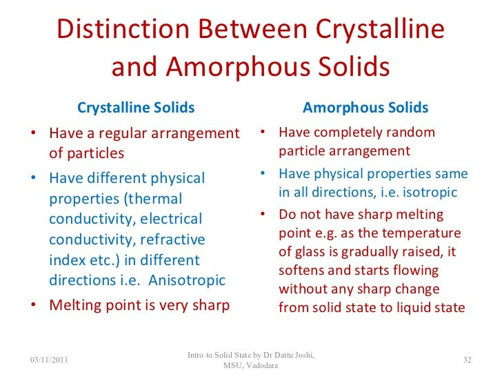 Amorphous Solid Characteristics And Amorphous Solids