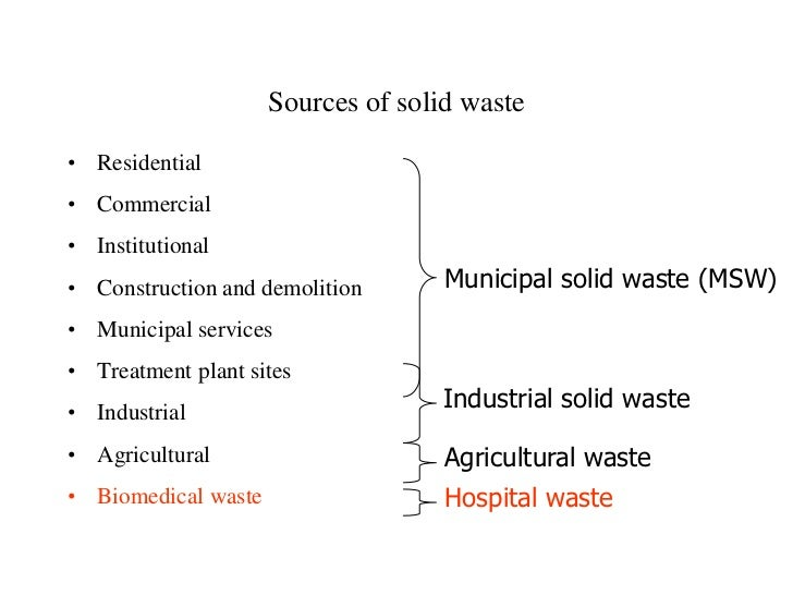 Sources of solid waste• Residential• Commercial• Institutional• Construction and demolition       Municipal solid waste (M...