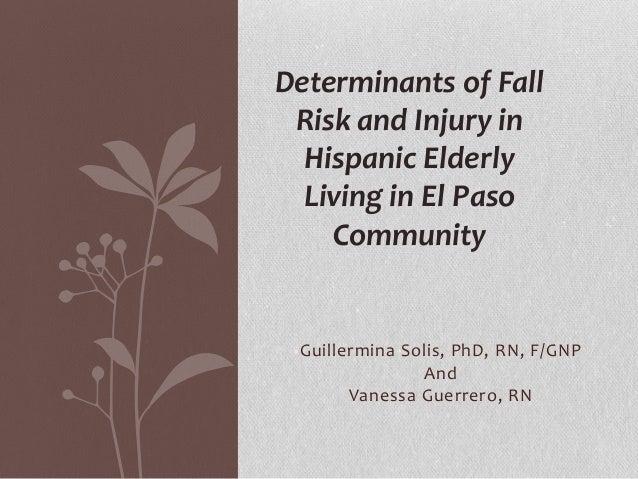 Determinants of Fall Risk and Injury in Hispanic Elderly Living in El Paso Community