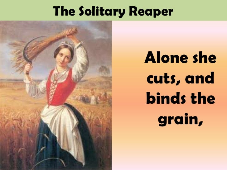 """thoughts on the solitary reaper by william wordsworth Fernando pessoa, william wordsworth, """"lisbon revisited (1926)"""", mário de sá-‐ ‑carneiro abstract  wordsworth's """"the solitary reaper"""" (1803) maria irene   if the poet must be able to experience thoughts and feelings unprovoked by."""