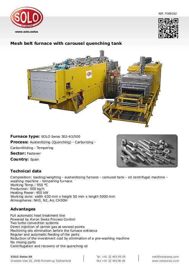 Mesh belt furnace with carousel quenching tank