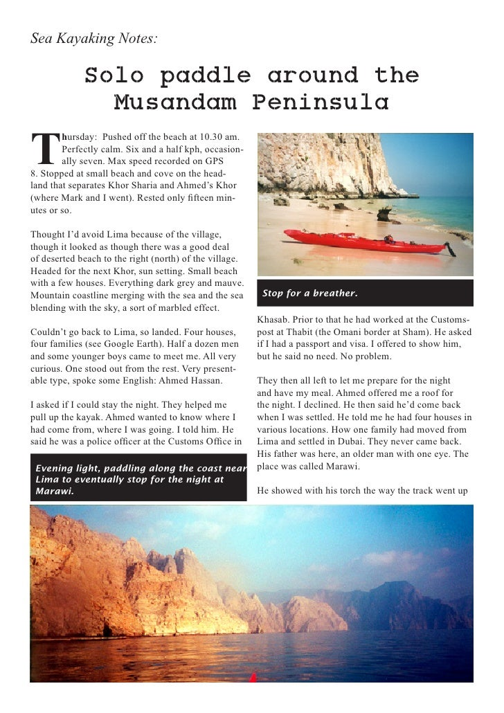Sea Kayaking Notes:             Solo paddle around the               Musandam PeninsulaT        hursday: Pushed off the be...