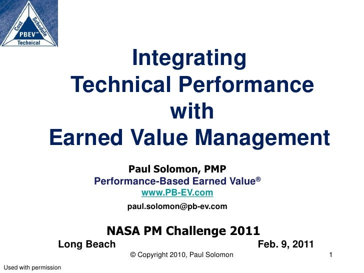 Integrating                 Technical Performance                          with               Earned Value Management     ...