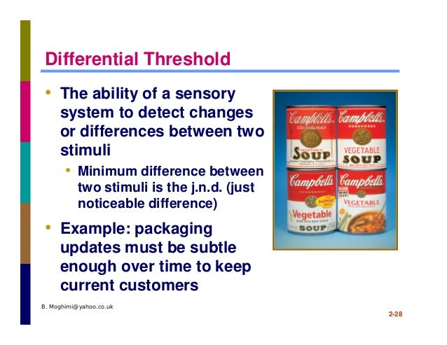 absolute threshold and the differential threshold This threshold for one person may not be the same for another person as individuals differ from one another in relation to their absolute threshold values for different senses difference threshold: two stimuli of a particular kind may vary from each other in intensity, but may not be perceived as different.