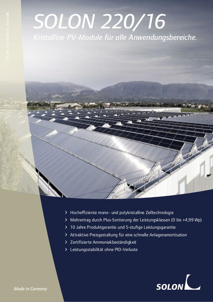 SOLON 220/16SOLON 220/16 Black / Blue · DE                                         Kristalline PV-Module für alle Anwendun...