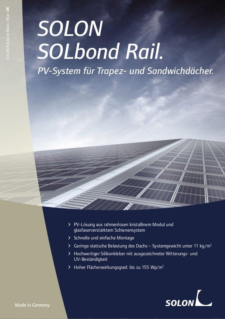 Solarenergie: SOLON SOLbond Rail.  Die leichte Photovoltaik-Lösung für bestehende Trapez- und Sandwichdächer.