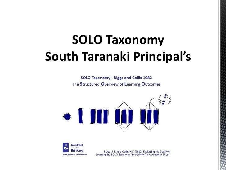 SOLO Taxonomy<br />South Taranaki Principal's Cluster Initiative.<br />