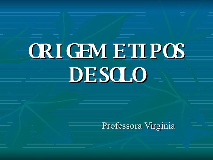ORIGEM E TIPOS DE SOLO Professora Virgínia