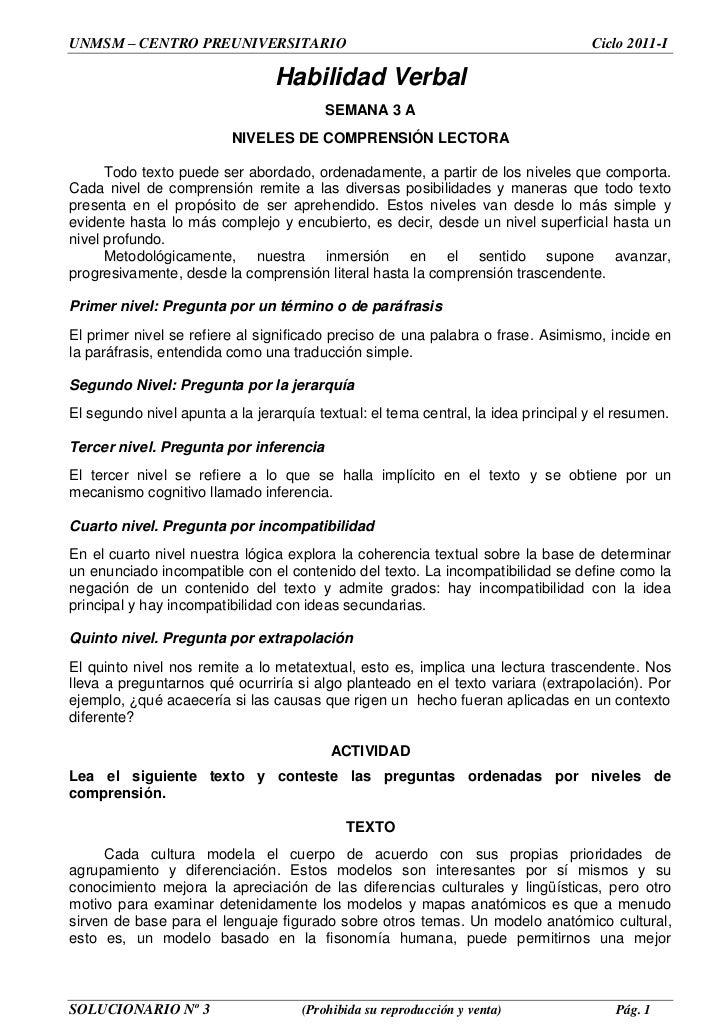 UNMSM – CENTRO PREUNIVERSITARIO                                                    Ciclo 2011-I                           ...