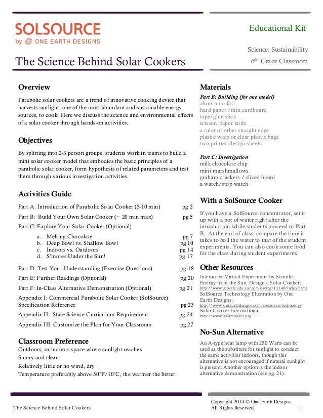 SolSource Lesson Plan: The Science Behind Solar Cookers