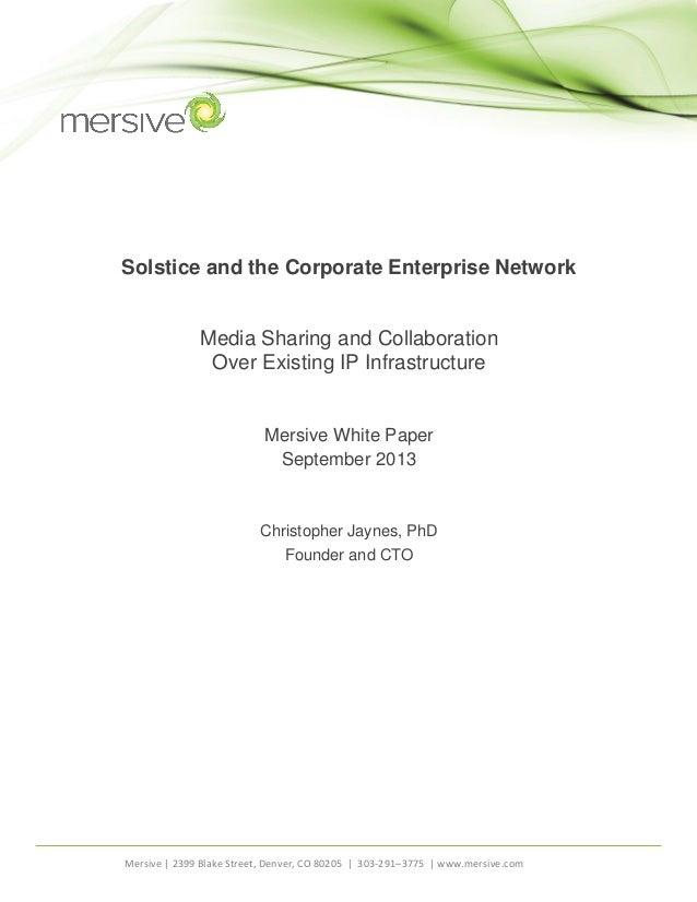 Mersive Solstice and the Corporate Network FINAL