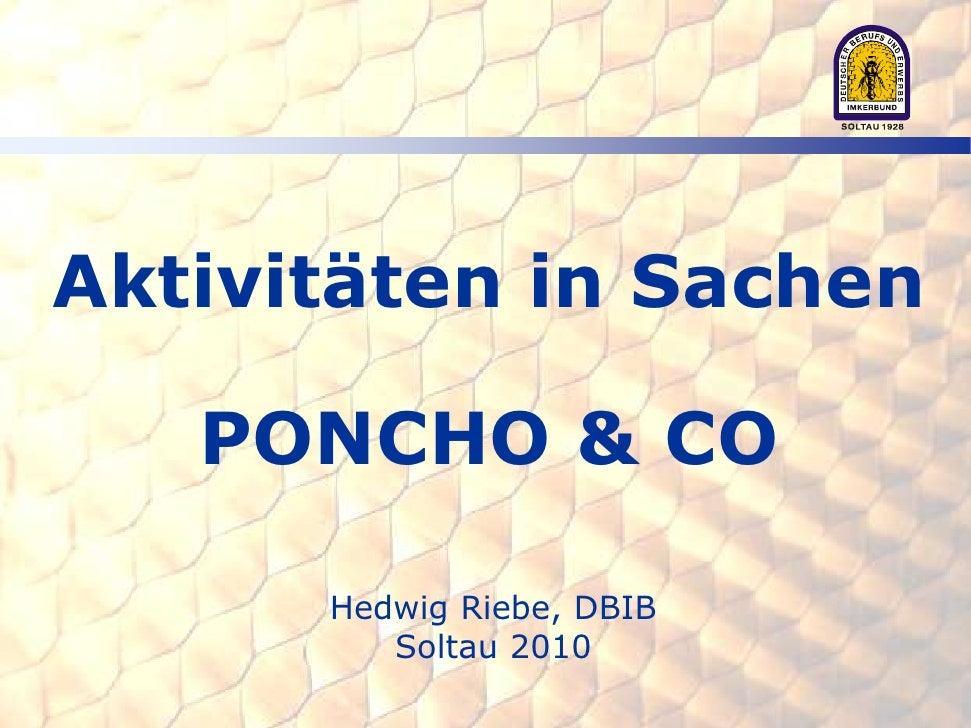 Aktivitäten in Sachen     PONCHO & CO        Hedwig Riebe, DBIB          Soltau 2010