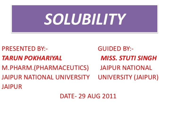 Solubility.seminar