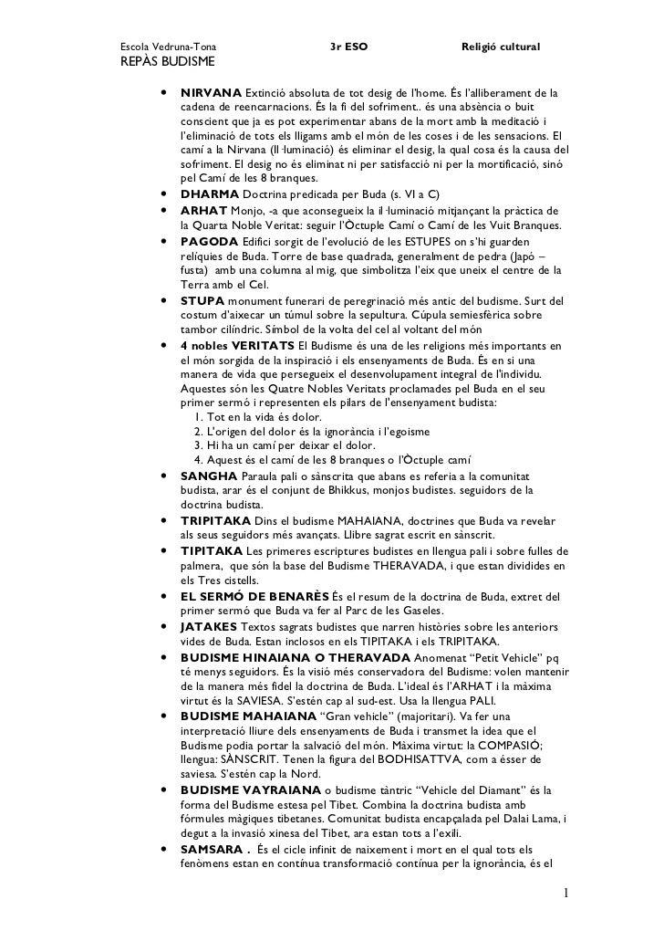 Escola Vedruna-Tona                       3r ESO                      Religió culturalREPÀS BUDISME       •   NIRVANA Exti...