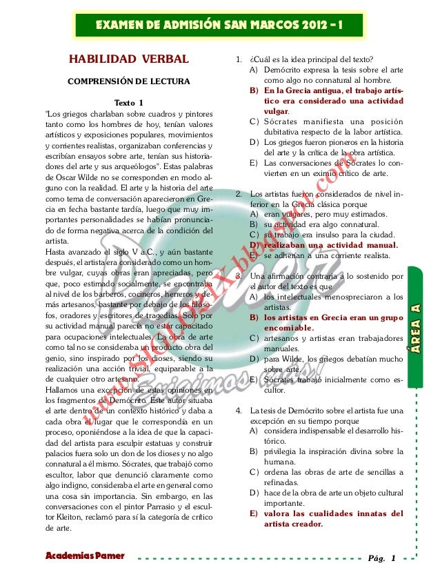 Examen de admisión         EXAMEN DE ADMISIÓN SAN MARCOS 2012 - I Solucionario                                            ...
