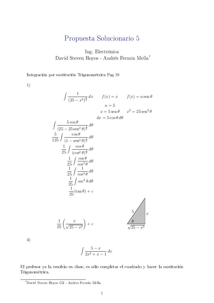 Propuesta Solucionario 5                                   Ing. Electrónica                      David Steven Hoyos - Andr...
