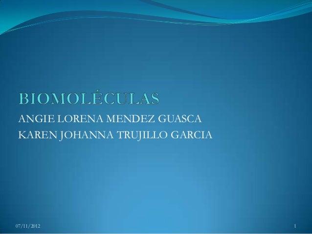 ANGIE LORENA MENDEZ GUASCA KAREN JOHANNA TRUJILLO GARCIA07/11/2012                       1